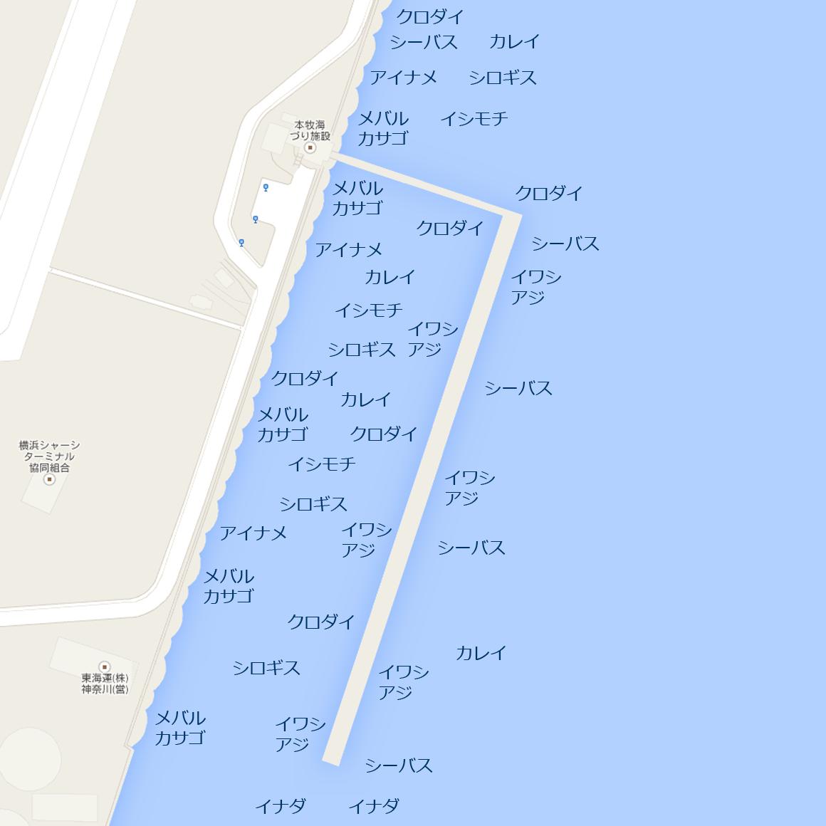 釣りマップ 本牧海づり施設