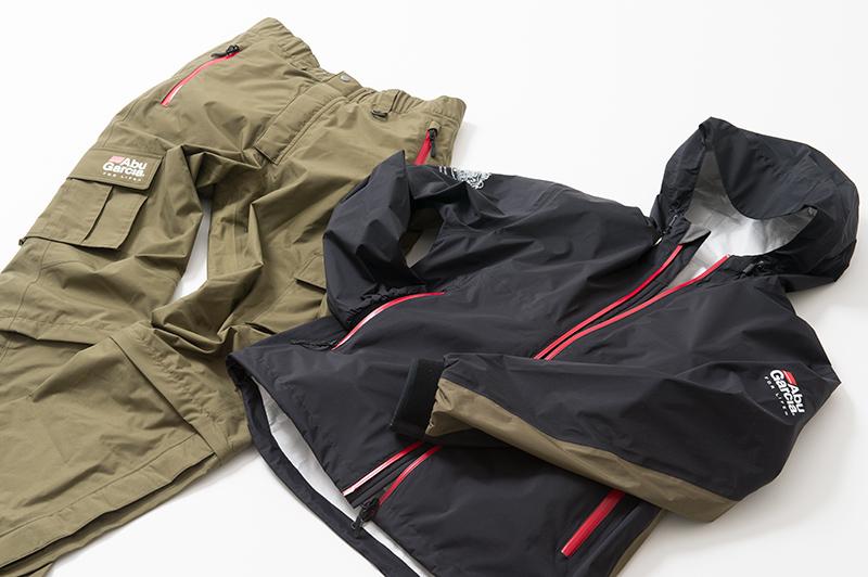アブガルシア(Abu Garcia) レインスーツ ブラックジャケット&カーキパンツ